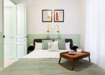 Small-and-stylish-modern-bedroom-in-white-and-pastel-green-is-perfect-for-the-vacation-apartment-23437-217x155