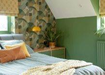 Small-bedroom-with-wallpaper-for-the-ehadboard-wall-in-green-is-filled-with-a-hint-of-tropical-charm-17642-217x155