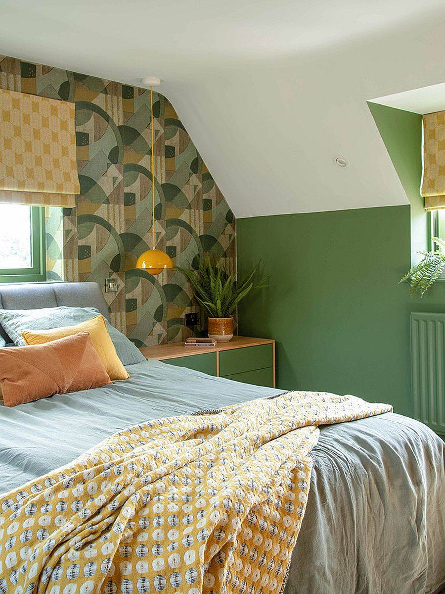 Small-bedroom-with-wallpaper-for-the-ehadboard-wall-in-green-is-filled-with-a-hint-of-tropical-charm-17642