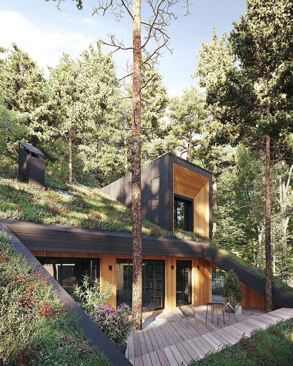 Small outdoor wooden deck of the green home with a fabulous live roof