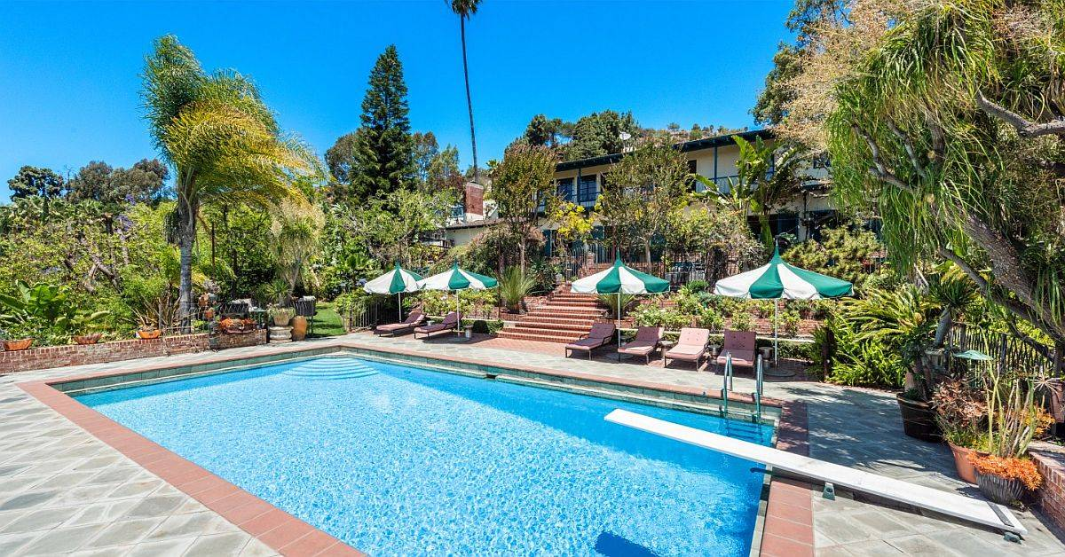 Step down to cool down at the lavish Hollywood Hills Mansion up for grabs