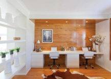 Stylish Office With Wooden Wall