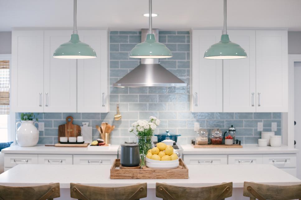 Tile Backsplash with Pendant Lamps.