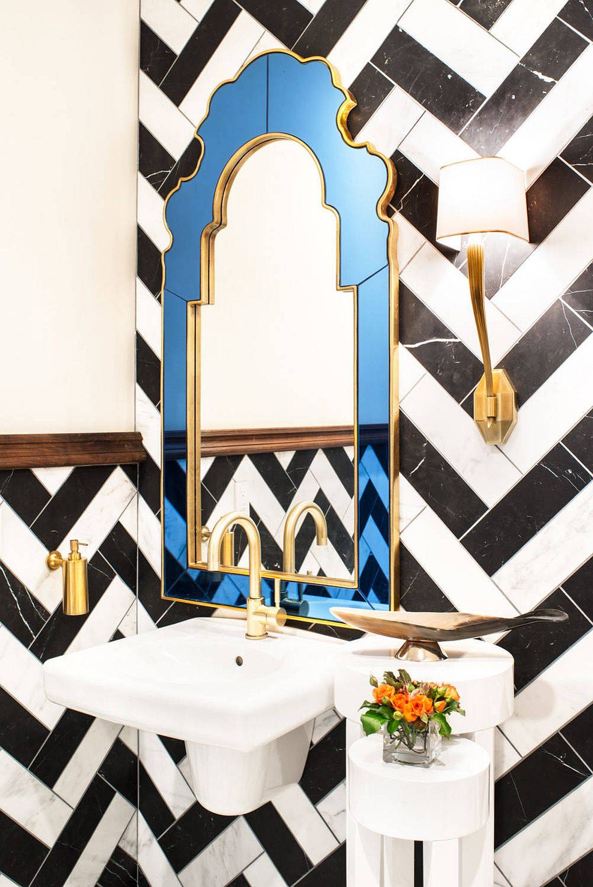 Tiles-arranged-in-the-powder-room-create-a-black-and-white-chevron-pattern-26028