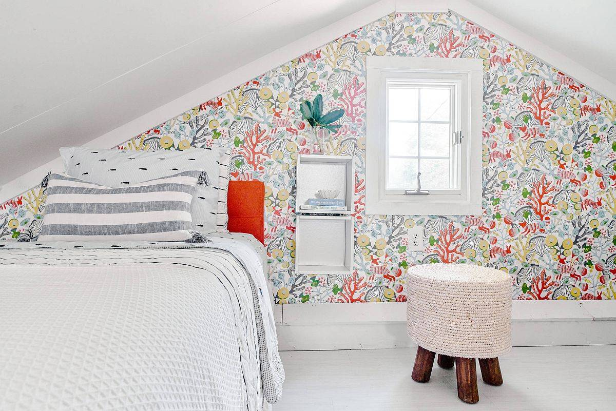 Tiny-attic-bedroom-with-a-pattern-filled-accent-wall-88717
