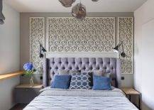 Wall-panels-with-overlapping-hexagon-motifs-make-an-impression-in-this-small-modern-bedroom-in-gray-and-white-23872-217x155