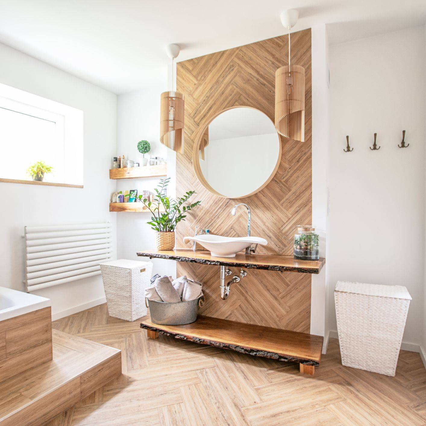 Warm Colored Wood Tile Bathroom With Special Lighting