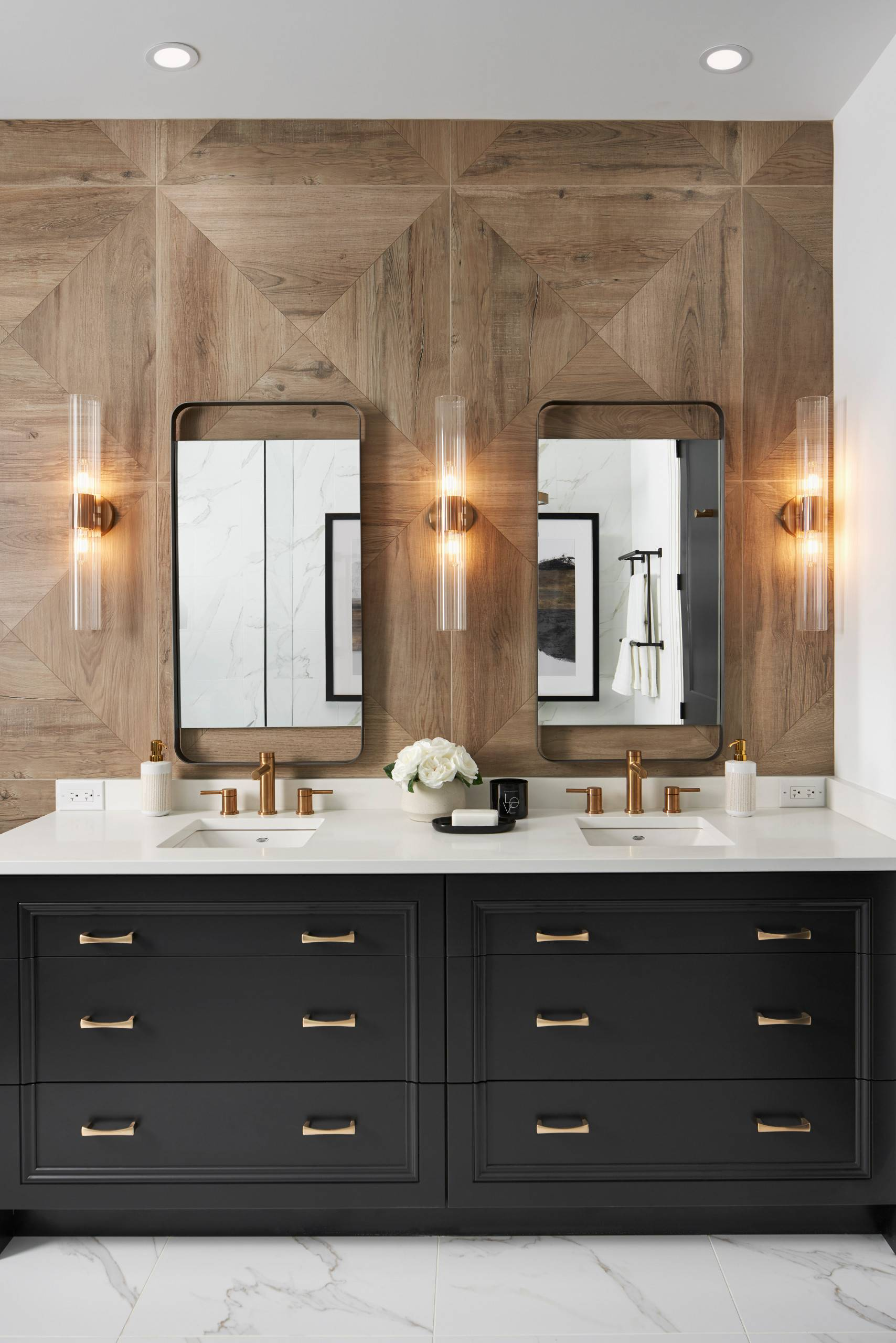 Warm Colored Wood Tile Bathroom With Special Lighting.