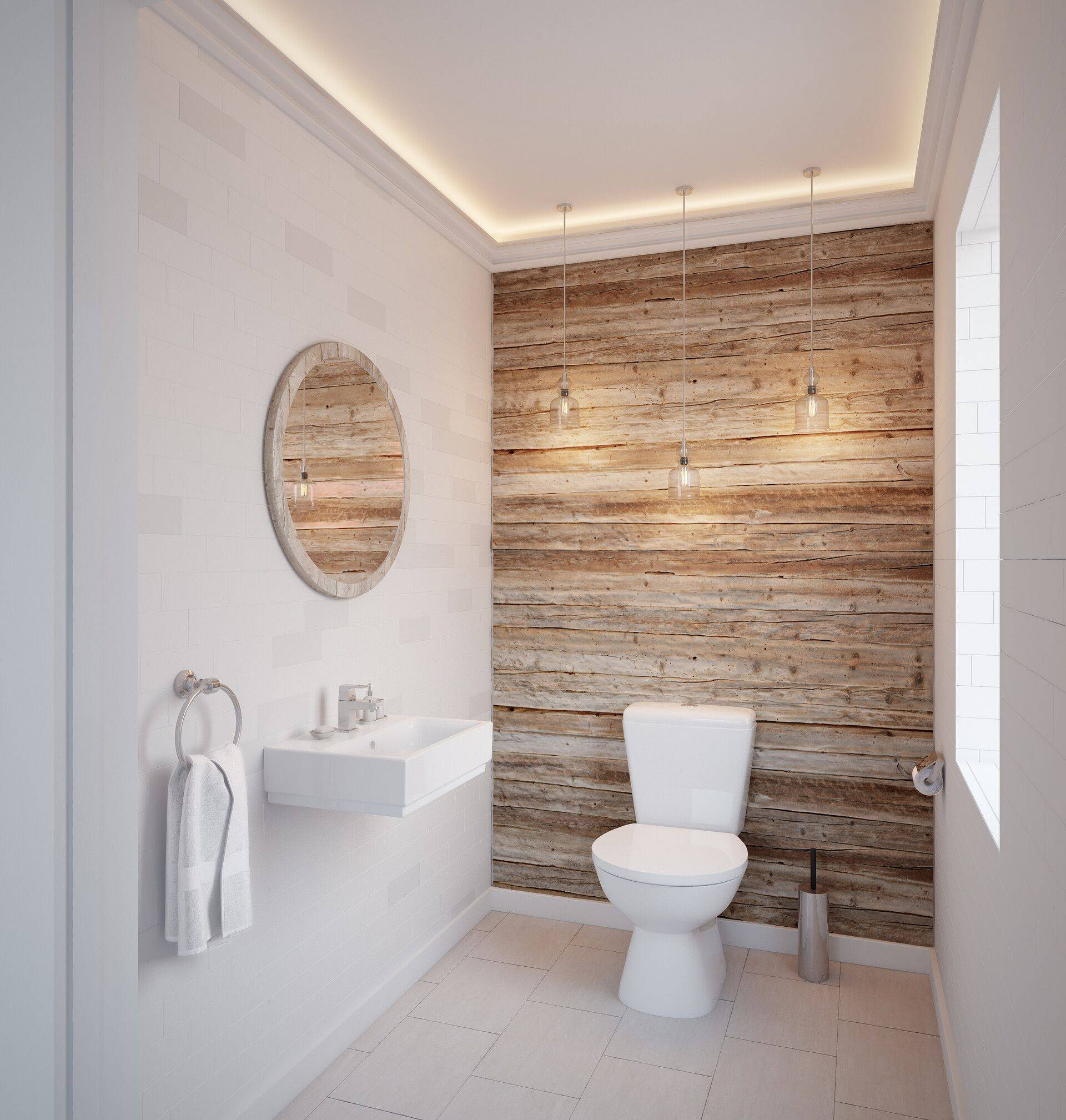 White Bathroom With Wood Tile Accent Wall.