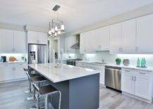 White Cabinets with Metallic Chandeliers