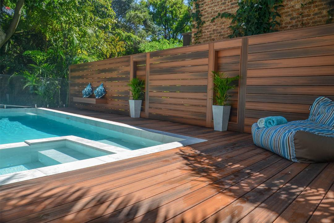 Wood Deck with Concrete Planters