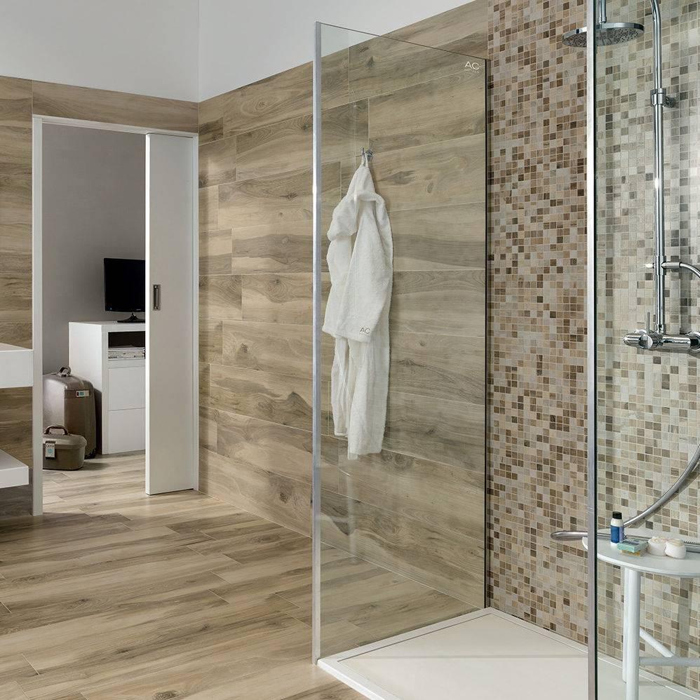 Wood Tile Bathroom Floor And Wall