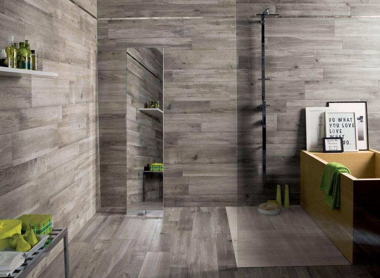 Wood Tiles on Bathroom Floor and Walls