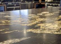 black and gold leathered granite kitchen countertop