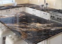 black and gold granite kitchen countertop