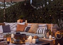backyard boho patio setting with lanterns