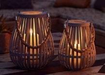 wooden weave lantern on patio