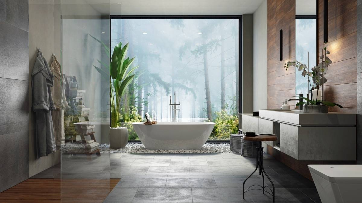 Large tub in front of picture window