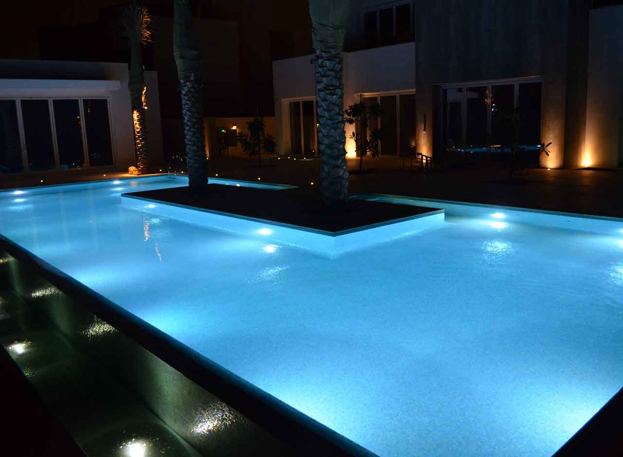 modern swimming pool with under the water lighting