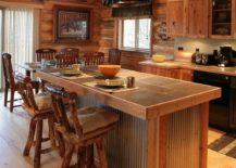 rustic kitchen island set up