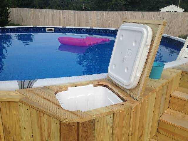 wooden table container around pool