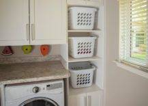 Stacking baskets in laundry area