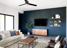 Light and airy room with blue wall