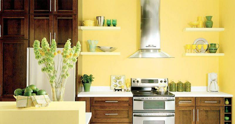 canary yellow paint in kitchen with dark cupboards