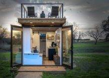 container home with rooftop deck and open concept back doors