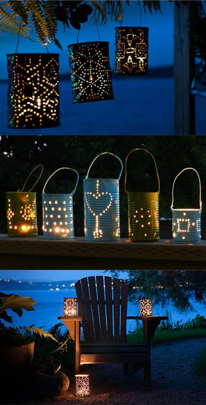 tin can hole punched outdoor lanterns