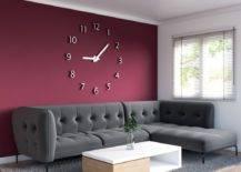 Maroon wall with clock