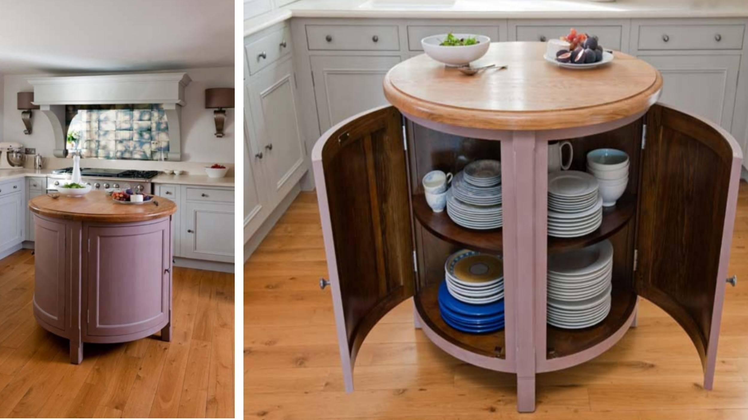 round kitchen island that opens to interior shelves