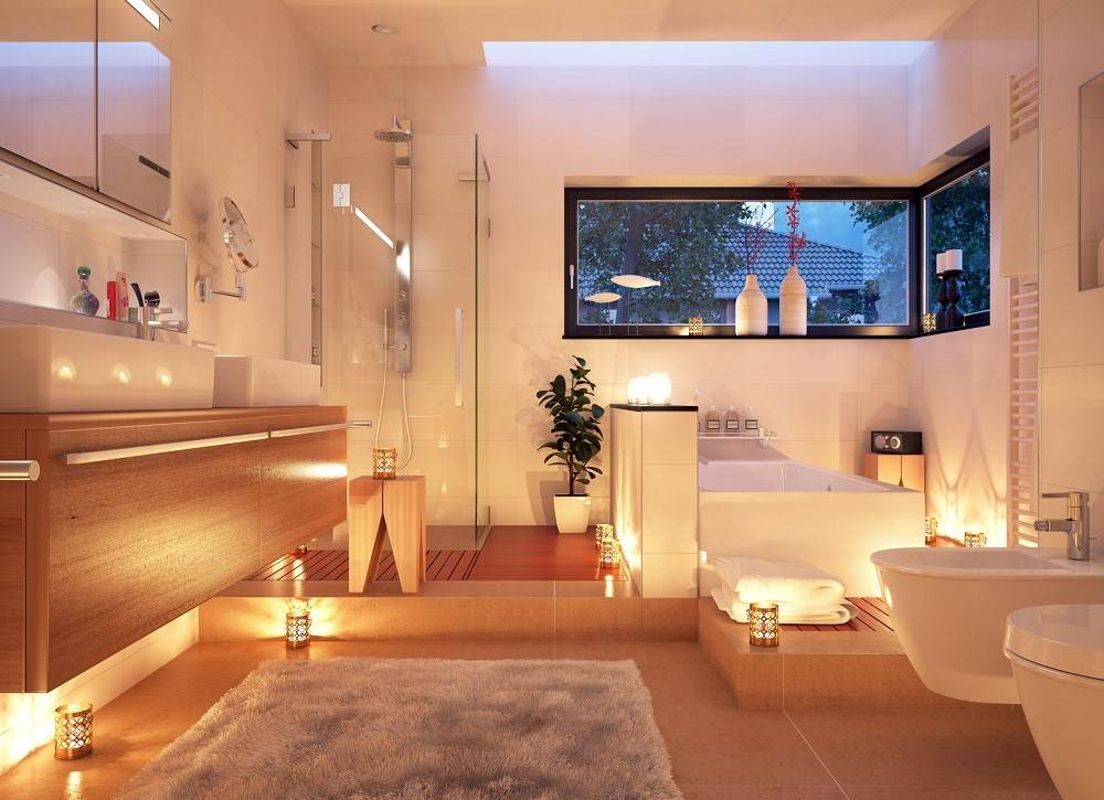 Bathroom lit by candles