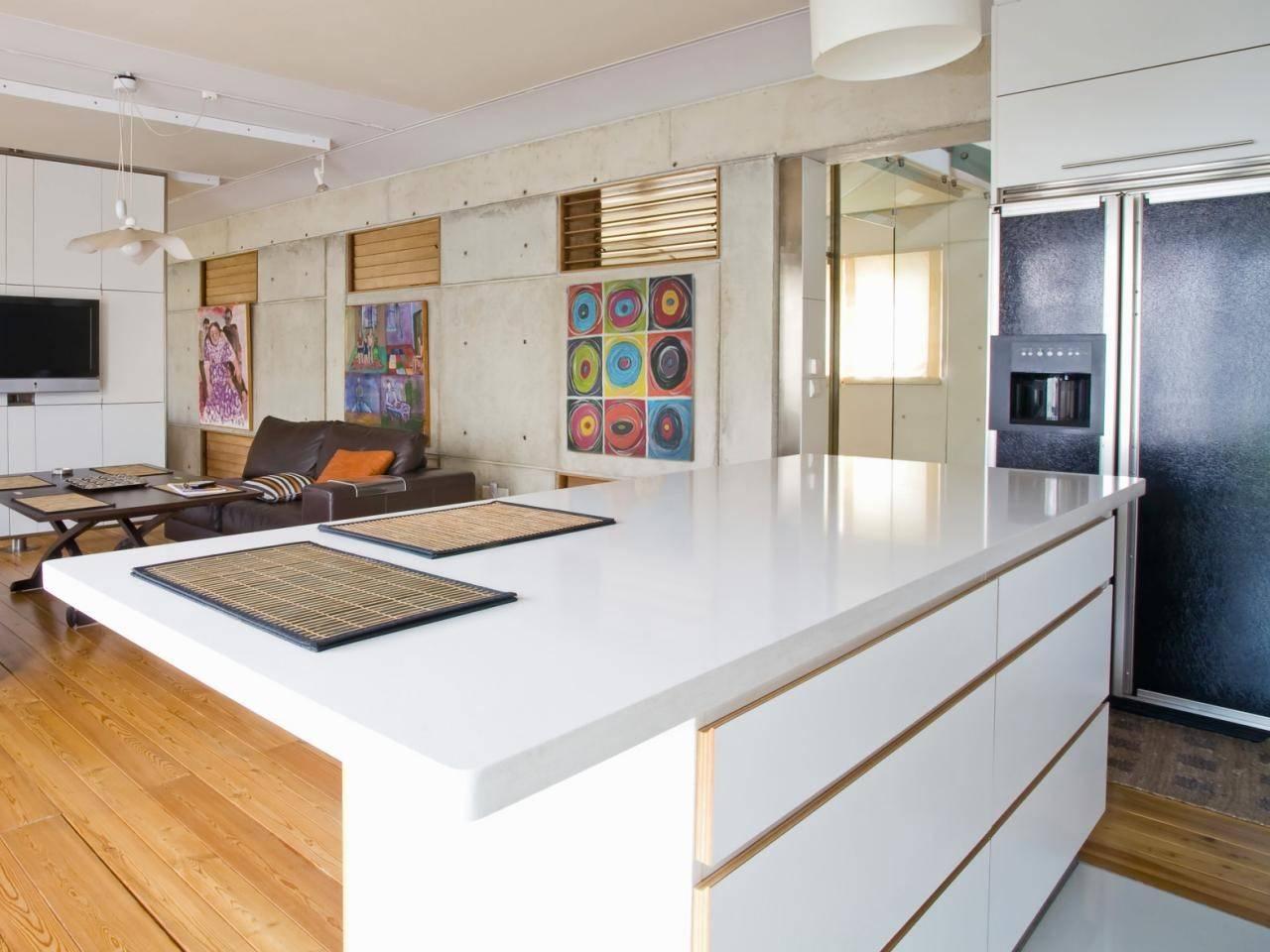 contemporary white kitchen island