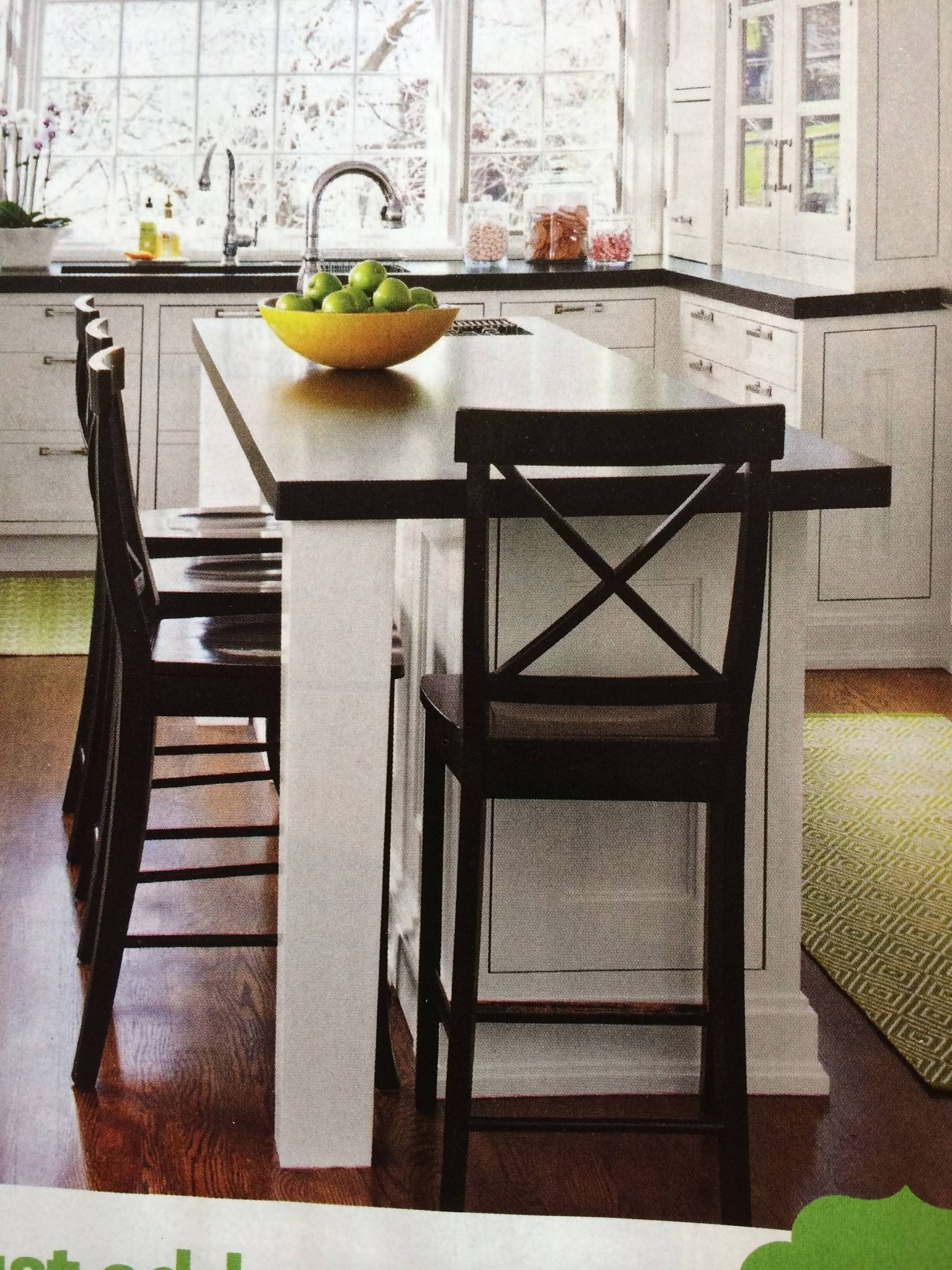 white kitchen island designed for small space