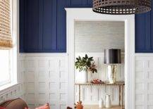 Blue and white accent wall