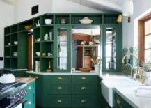 emerald green kitchen cabinets with gold hardware