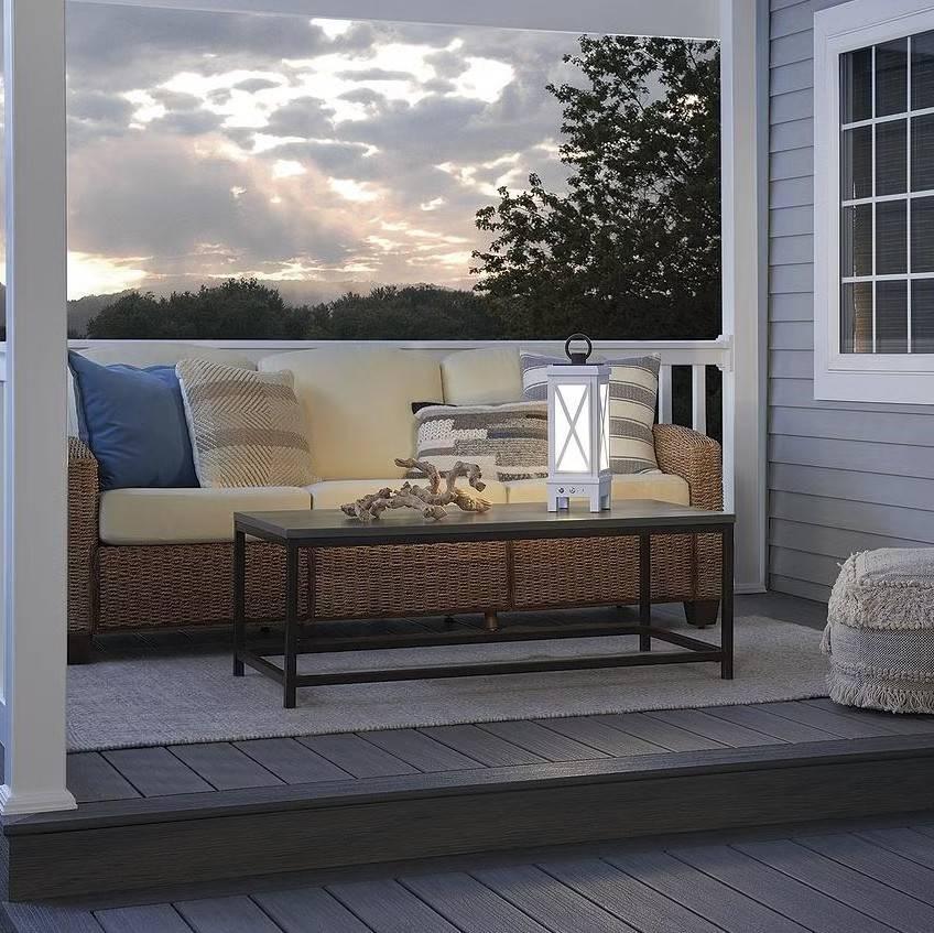 white lantern on patio table