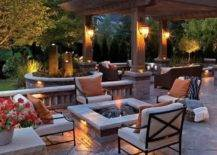 backyard patio set up with lanterns