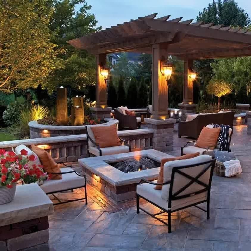 backyard patio with hanging lanterns