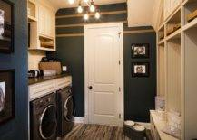 Laundry room with dark paint