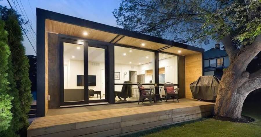 modern black and wood container home