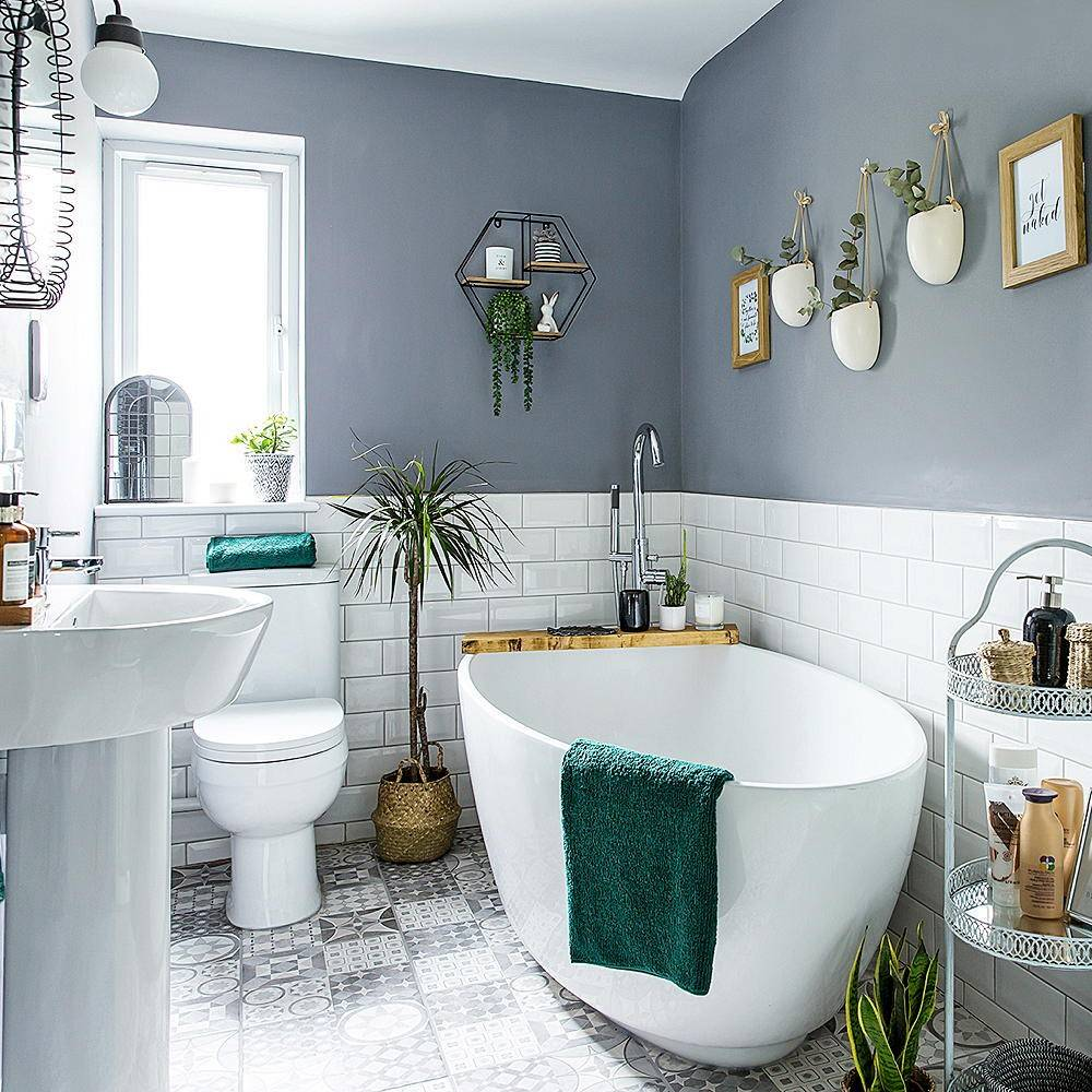 Gray bathroom with large tub
