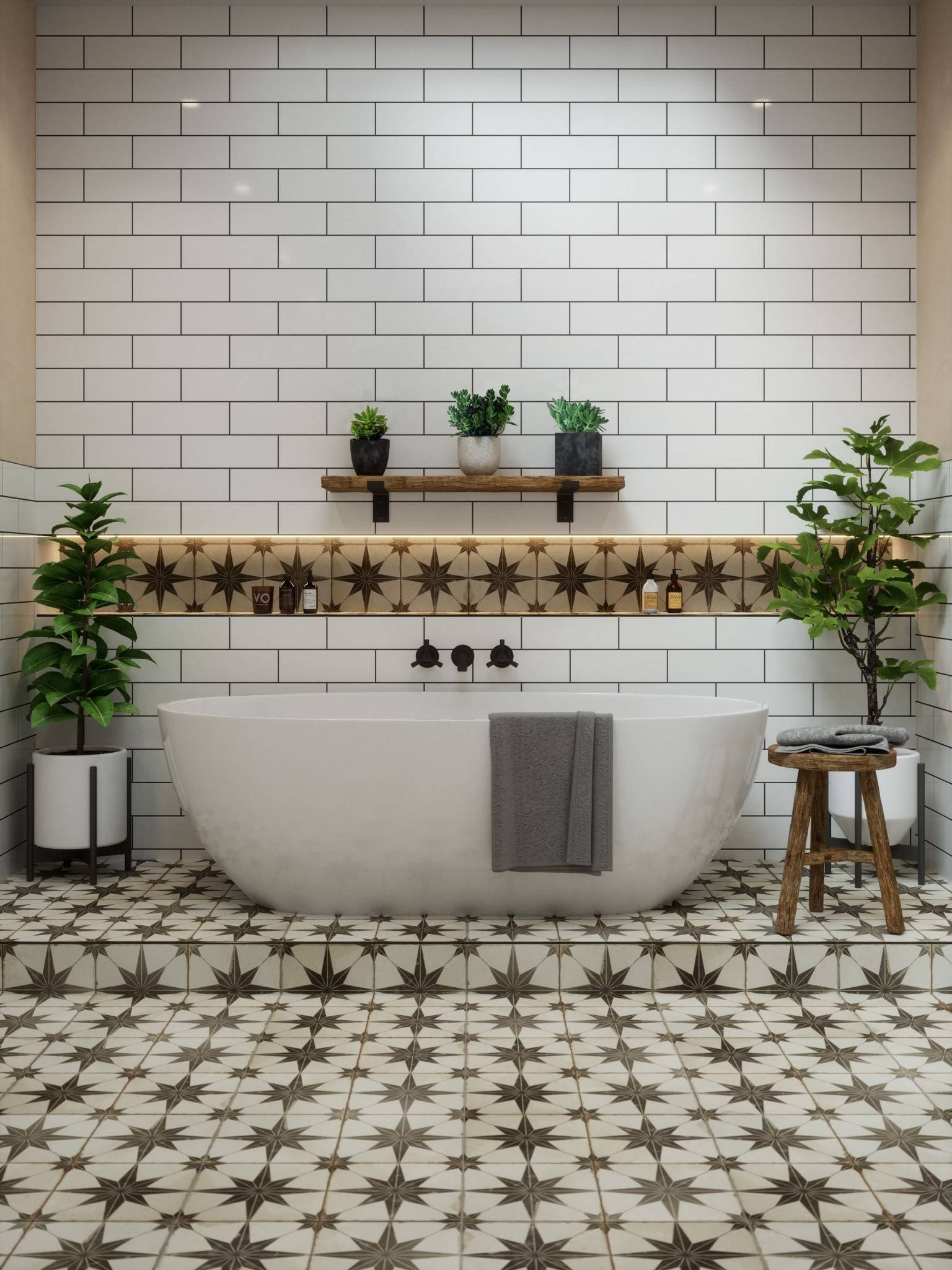 Tiled floor and walls