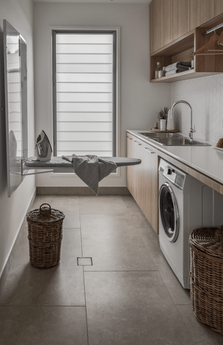 Ironing board in laundry room