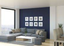 Photos on blue background wall