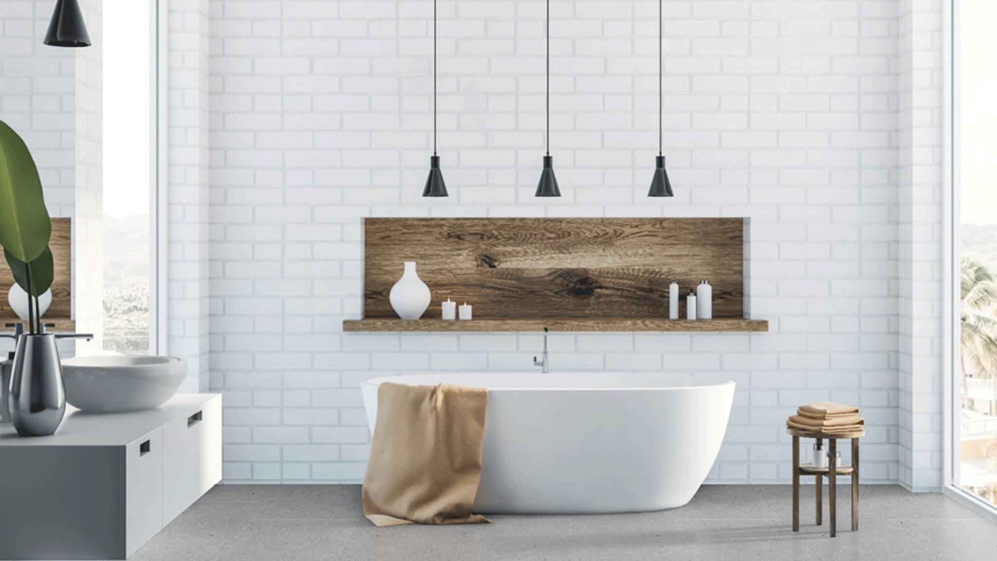 Large white soaking tub