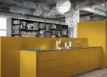 mustard yellow kitchen set up