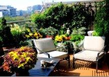 balcony container garden with patio furniture