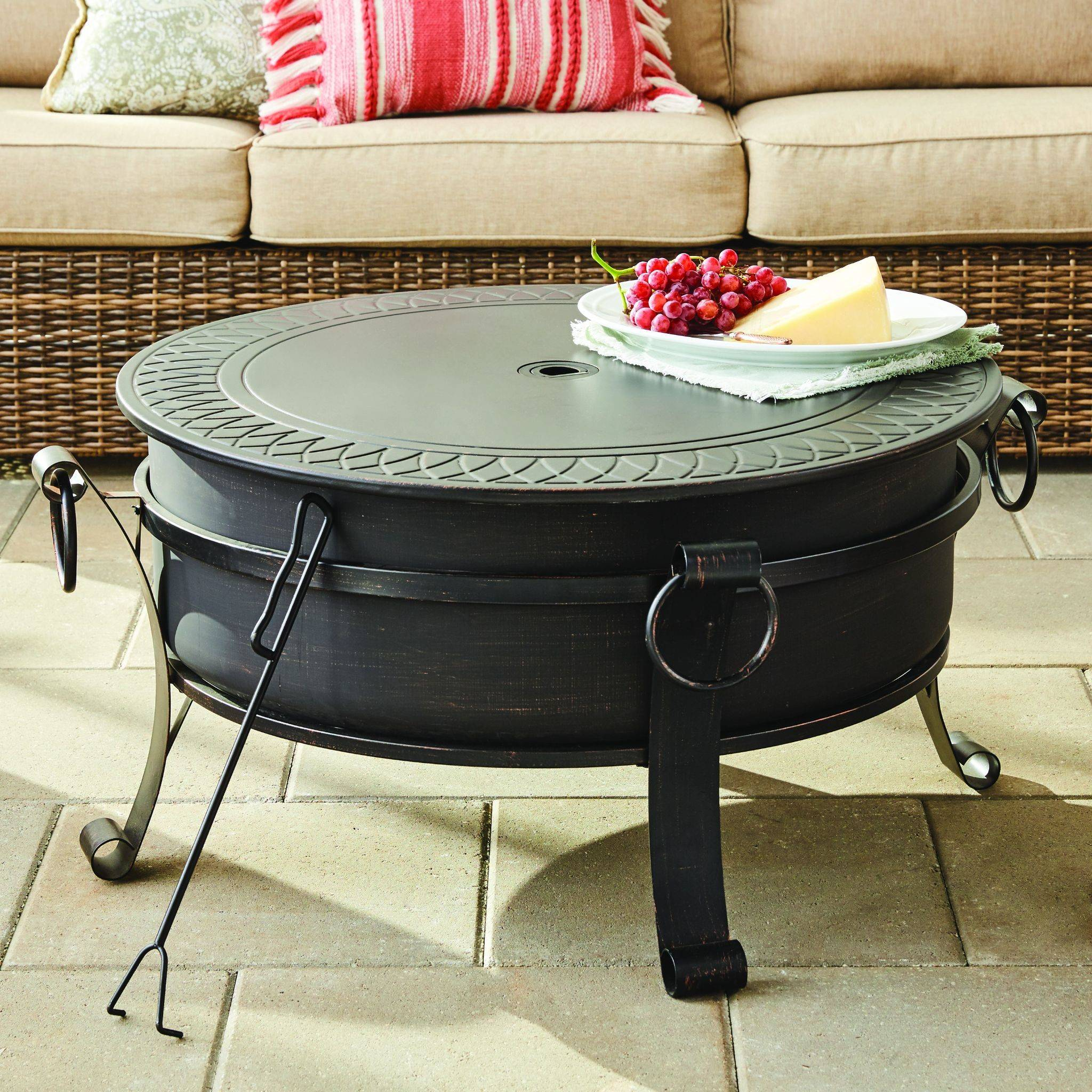 convertible fire pit with tabletop cover